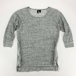 Cynthia Rowley Top Small S Gray Raglan 3/4 Sleeve